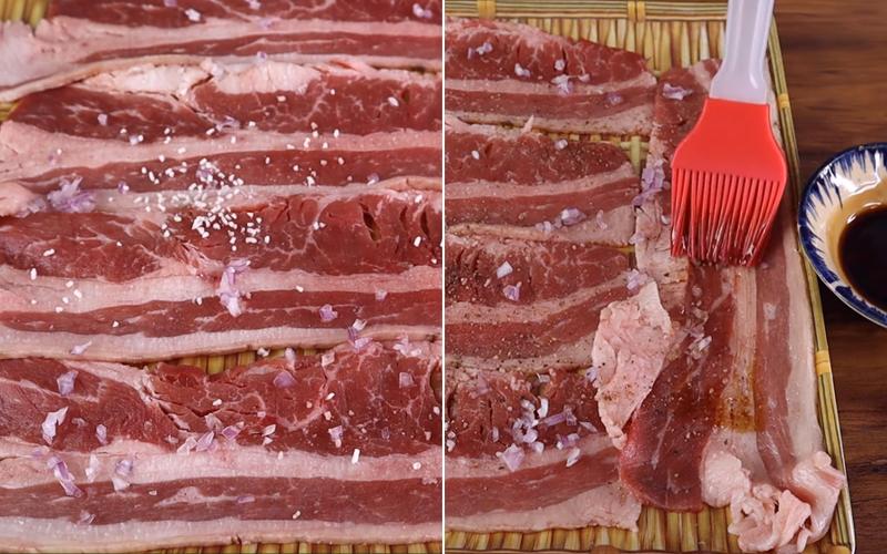 Ướp thịt bò với gia vị