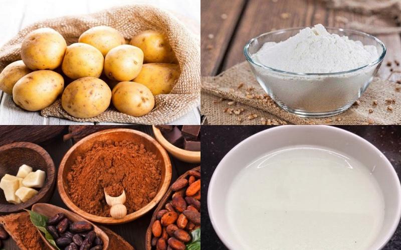 Nguyên liệu làm hỗn hợp khoai tây trộn bột mì để bẫy chuột