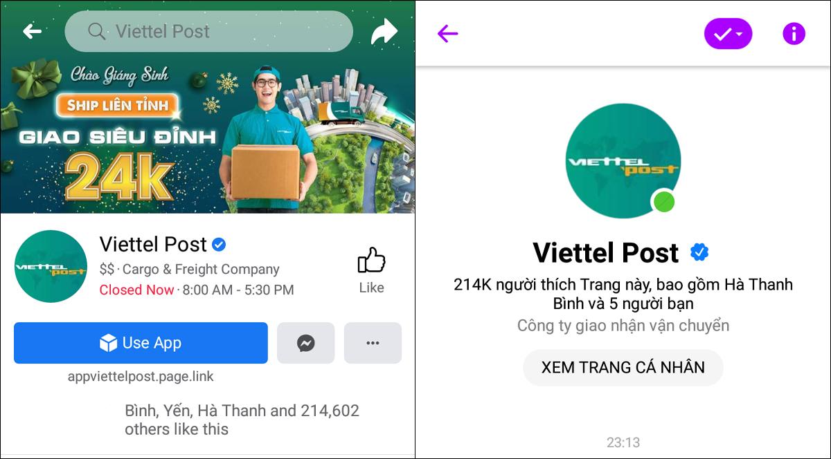 Tra cứu qua Fanpage Facebook Viettel