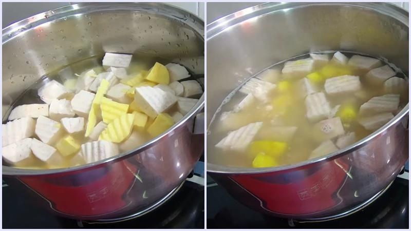 Nấu khoai lang và khoai môn