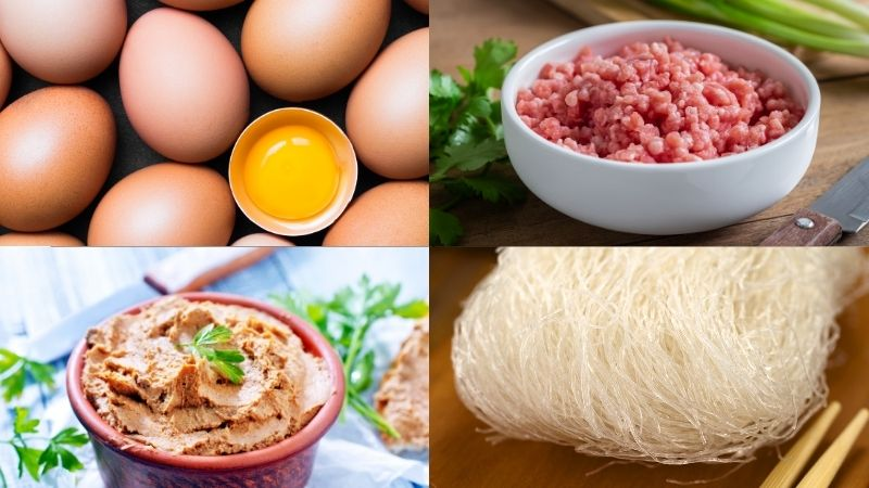 Nguyên liệu làm chả trứng pate hấp