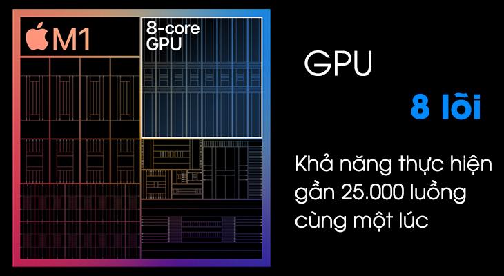 Hiệu suất đồ họa cao hơn với mức tiêu thụ điện năng thấp nhờ đồ họa tích hơp - GPU 8 lõi