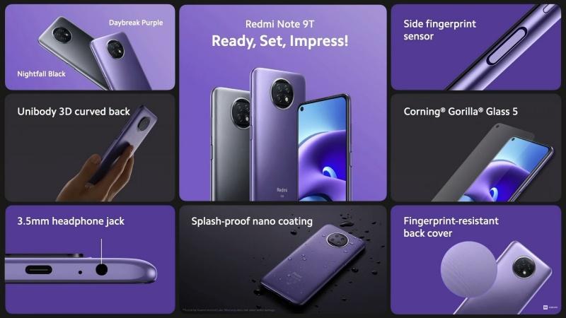 Redmi Note 9T 5G có màn hình đục lỗ và được phủ kính cường lực Corning Gorilla Glass 5