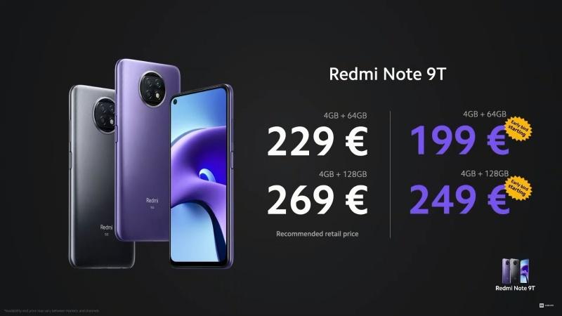 Giá bán của Redmi Note 9T 5G