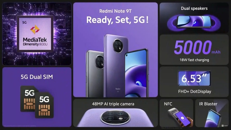 Thông số cấu hình chính của Redmi Note 9T 5G