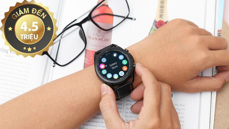Samsung Galaxy Watch 3 45 mm với dây da bằng thép đen
