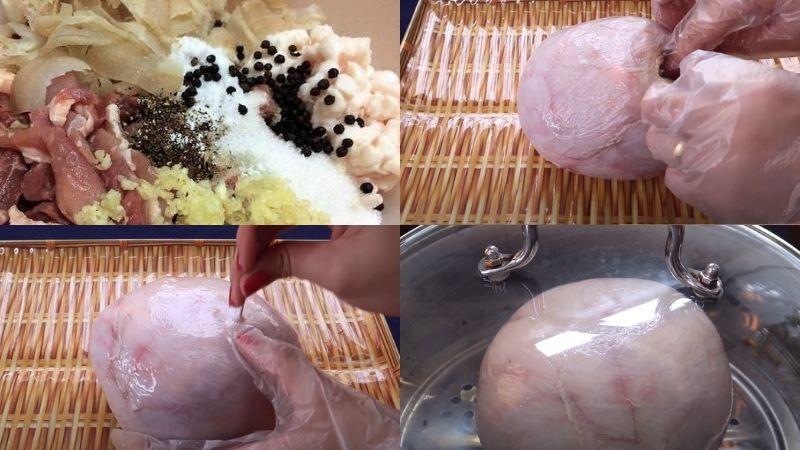 dồn thịt vào bong bóng heo.