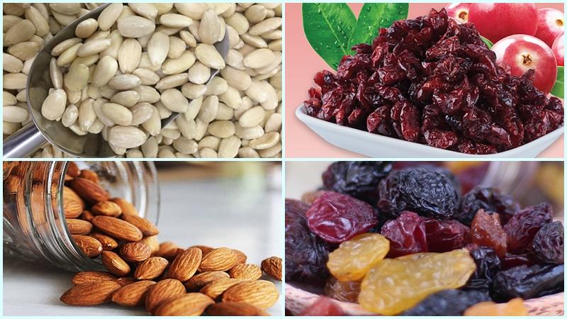 Các loại hạt làm món kẹo Nougat matcha