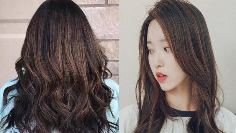 Tóc màu nâu đen highlight