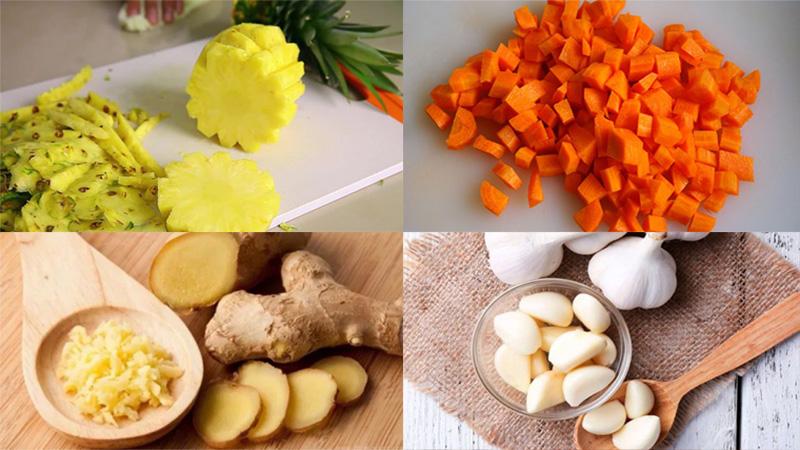 Nguyên liệu cho món nước ép hỗn hợp thơm, dứa, tỏi và gừng