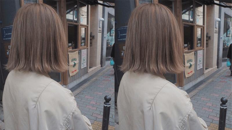 Tóc ngắn ngang vai đuôi xoè màu nâu tro