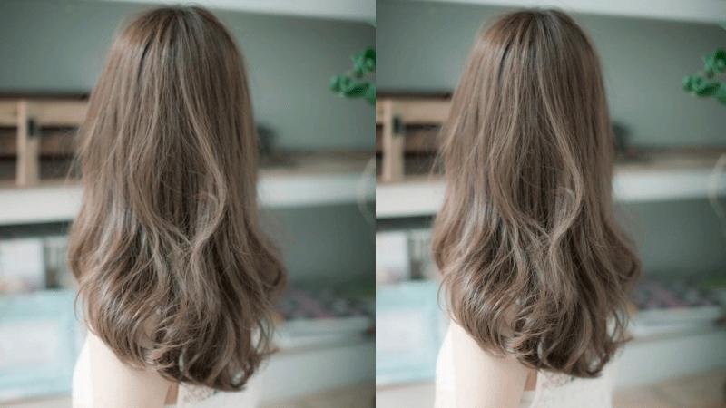 Tóc dài uốn đuôi màu nâu tro