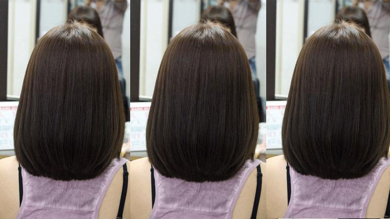 Tóc ngắn mái bằng màu nâu tro