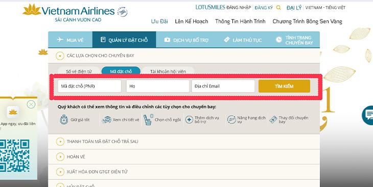 Mã đặt chỗ vé máy bay Vietnam Airlines