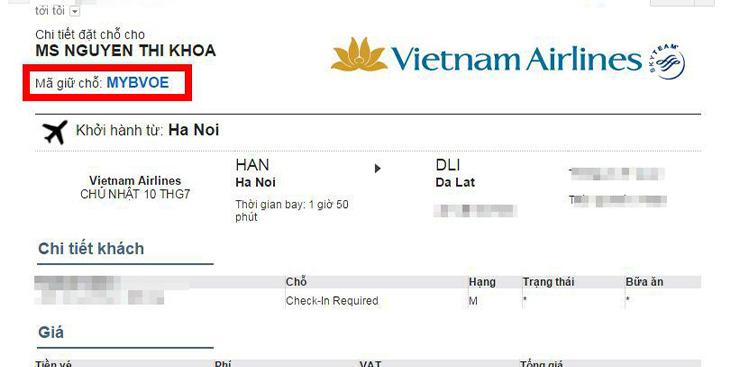 Mã đặt chỗ của hãng Vietnam Airlines