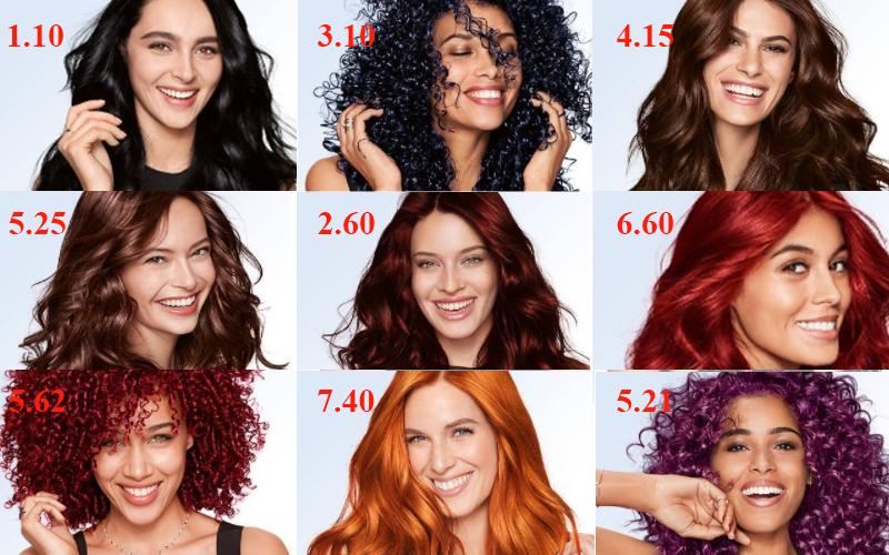 Bảng màu thuốc nhuộm tóc Garnier đầy đủ