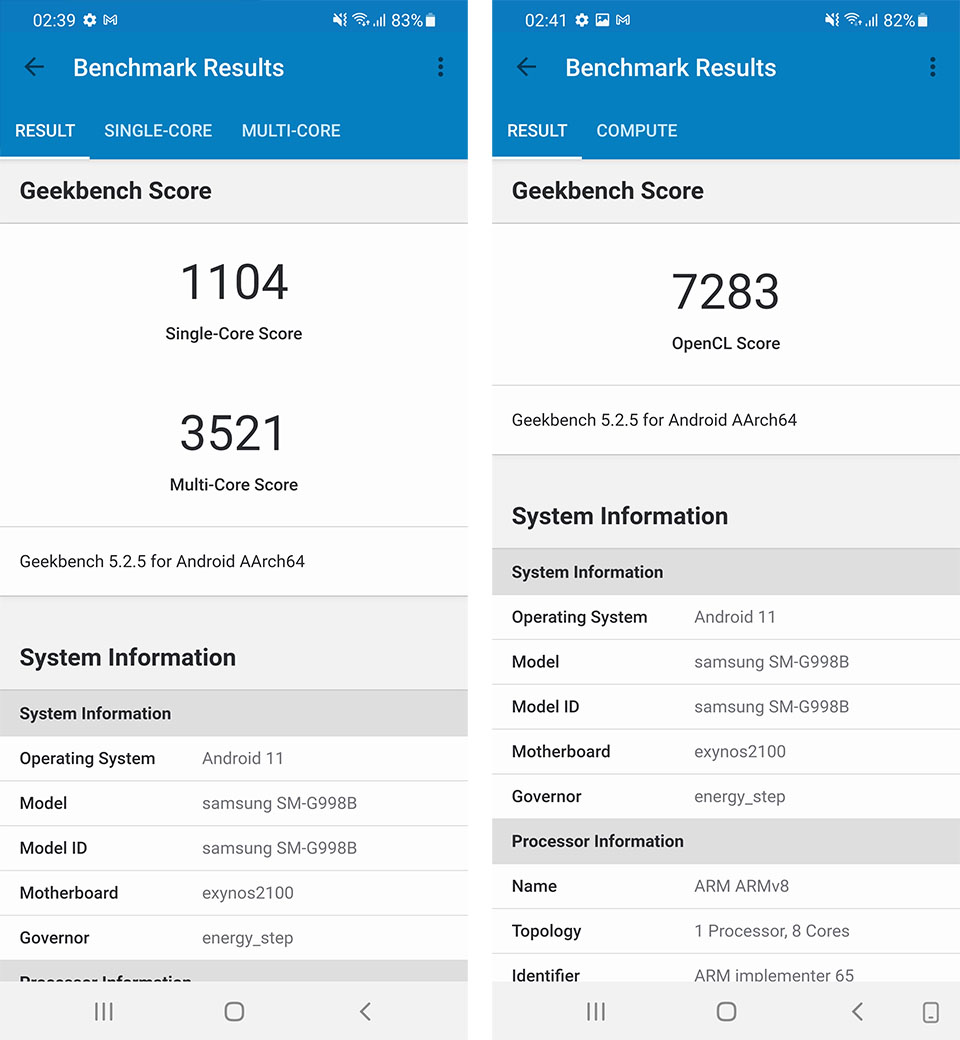 Test the CPU and performance of the Galaxy S21 Ultra 5G with Geekbench 5