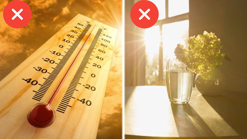 Cần tránh đặt sản phẩm ở những nơi có nhiệt độ cao hay ánh nắng trực tiếp