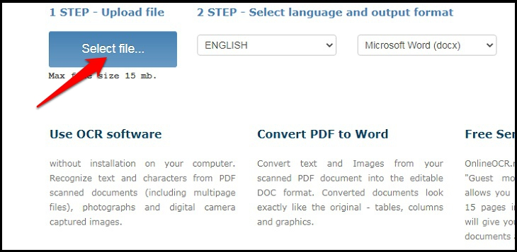 Chọn nút Select file và tiến hành Tải lên hình ảnh mà bạn muốn chuyển thành văn bản.