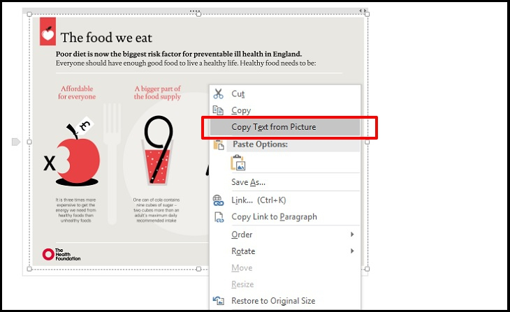 Nhấp chuột phải vào hình ảnh chọn mục Copy text from picture.