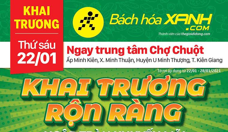 Cửa hàng Bách hoá XANH tại Xã Minh Thuận, Huyện U Minh Thượng khai trương ngày 22/01/2021