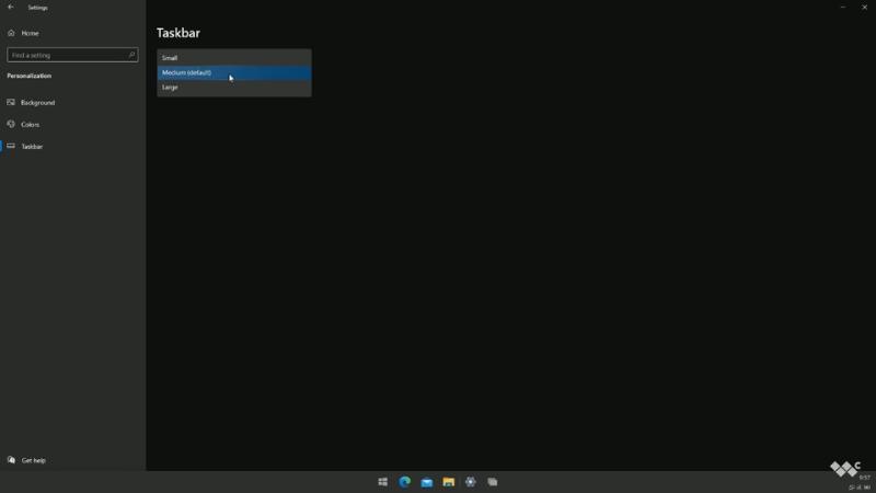 Chúng ta cũng có thể điều chỉnh kích thước thanh Taskbar trên Windows 10X.