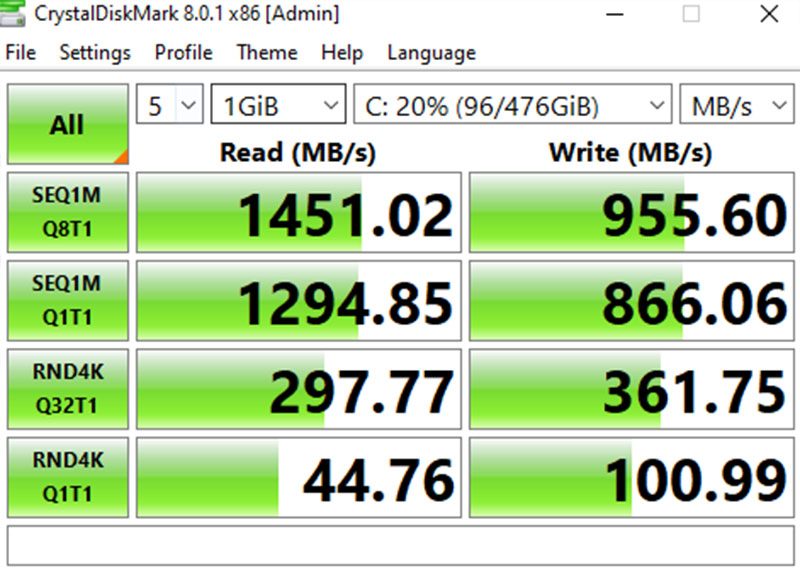 Measure read and write speed of a 512 GB SSD with Crystal Diskmark