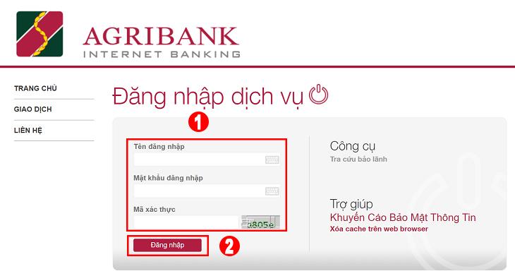 Màn hình đăng nhập website Agribank Internet Banking