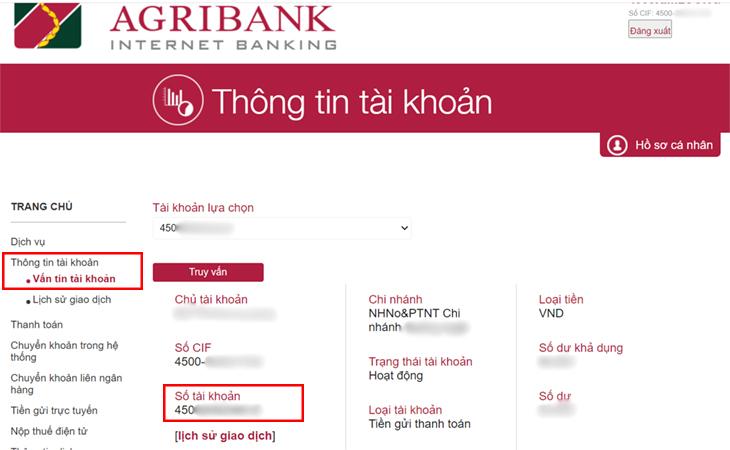 Xem số tài khoản Agribank