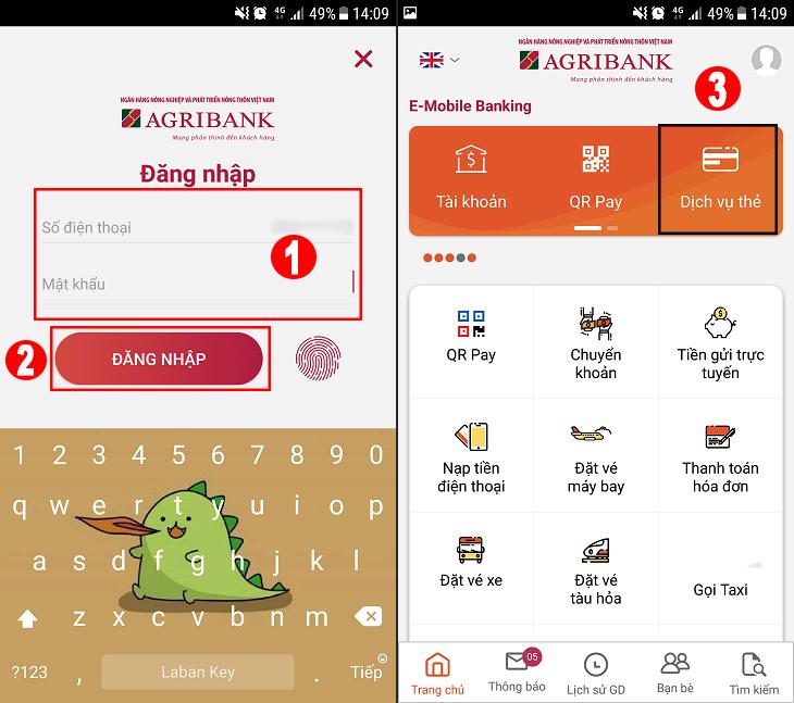 Đăng nhập ứng dụng Mobile Banking của Agribank trên điện thoại