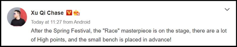 Bài viết đăng tải bởi Xu Qi về Realme Race