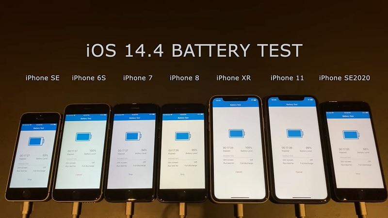 Thời lượng pin của iPhone 8, iPhone SE, iPhone 11... khi lên iOS 14.4