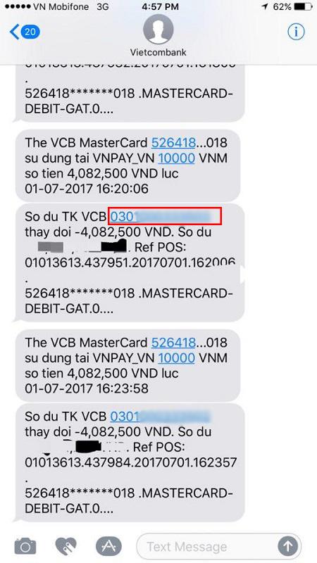 Xem số tài khoản trên tin nhắn SMS Banking