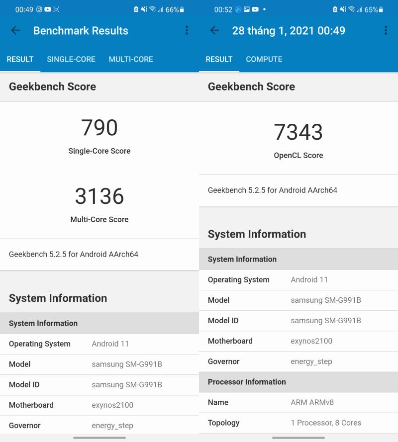 Kết quả test Galaxy S21 5G bằng Geekbench 5 không hề tệ chút nào.