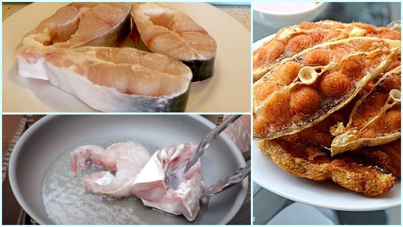 Áp chảo cá bông lau trước khi nấu lẩu