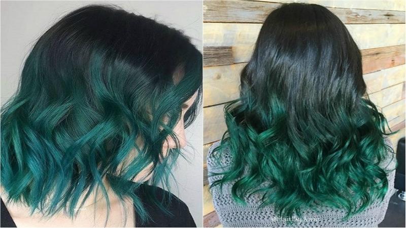 Tóc ombre xanh rêu
