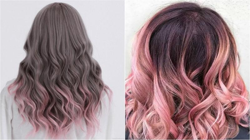 Tóc nhuộm ombre nâu hồng