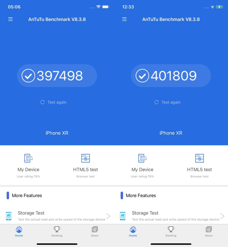 Performance score tested by AnTuTu iPhone XR operating system 14.3 (left) and operating system 14.4 (right)