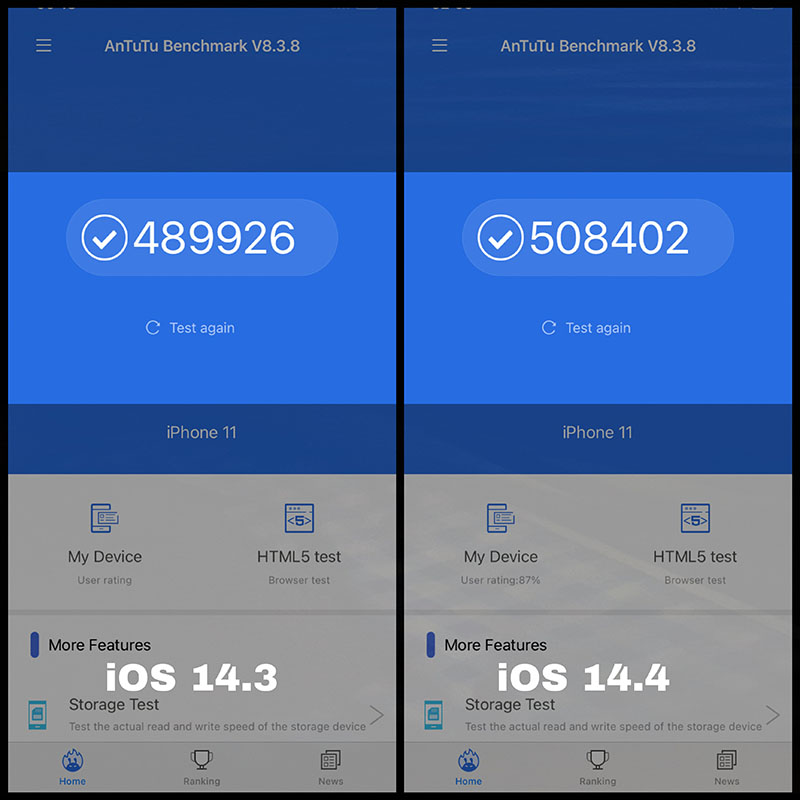 Measure the performance score of iPhone 11