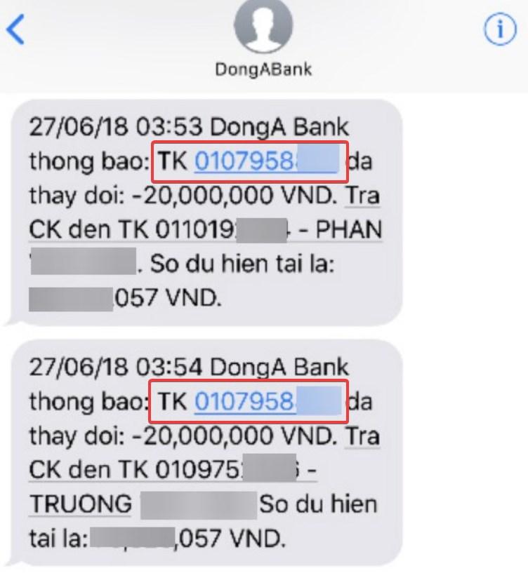 Số tài khoản trên SMS Banking