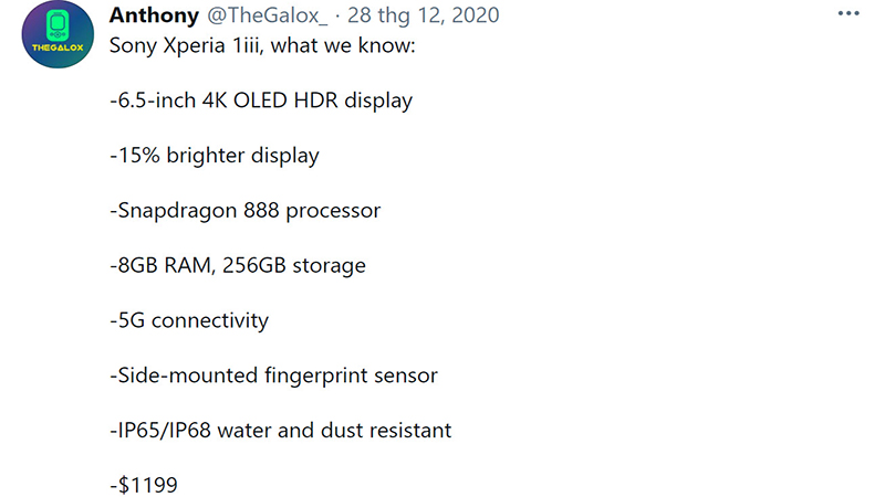 Configuration of leaked Sony Xperia 1 Mark III