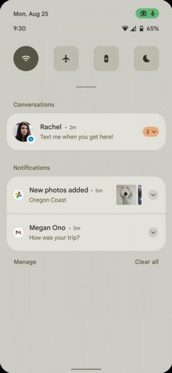 Giao diện bảng điều khiển nhanh và thanh thông báo trên Android 12