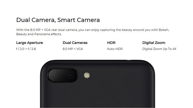 The back of the HTC Wild E Lite makes you feel even more familiar when the machine has a cult dual camera cluster that companies take turns equipping their products with the main camera with 8 MP resolution and camera support. Depth measurement support 0.3 MP (VGA).