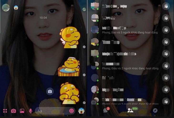 Kết quả hiện thị trên hình nền Messenger của điện thoại