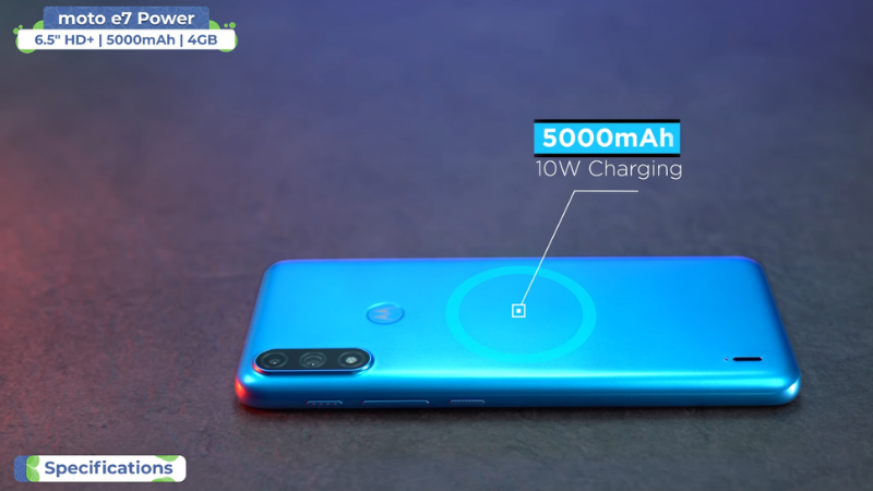 The 5,000 mAh battery on the Moto E7 Power is enough to last up to 2 days.  (Source: Trakin Tech).
