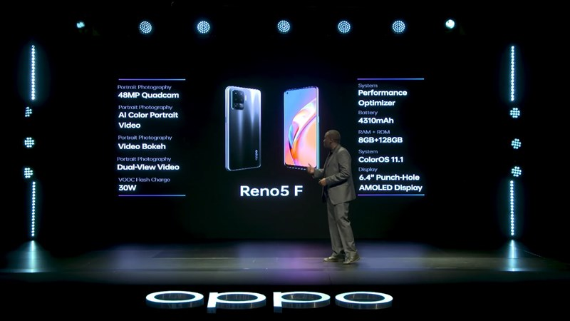 In addition, the OPPO Reno 5 F is even more prominent when it is equipped with 8 GB of starting RAM, and 128 GB of internal memory enough for us to use multi-tasking and store many pictures, music, applications. and game.  It can also be expanded with an external memory card if that is not enough.