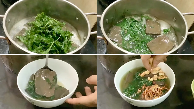 Cách làm món tiết hầm ngải cứu