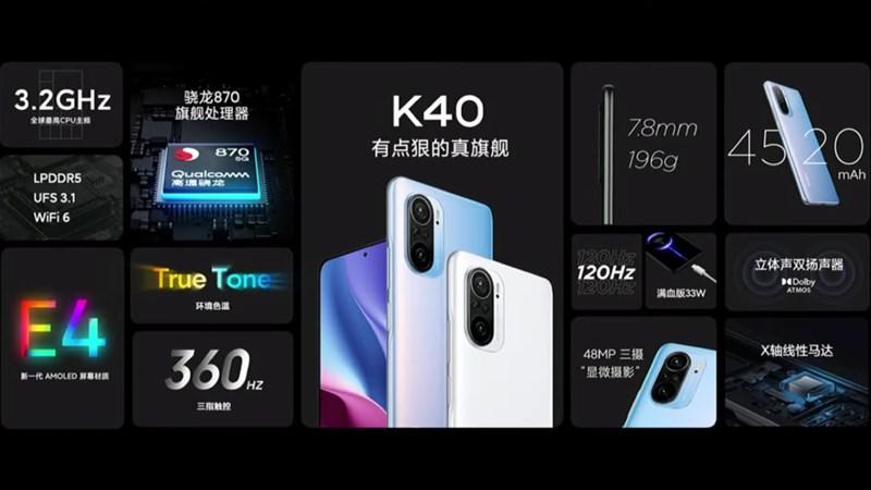 Bản cấu hình của Xiaomi Redmi K40 với Snapdragon 870