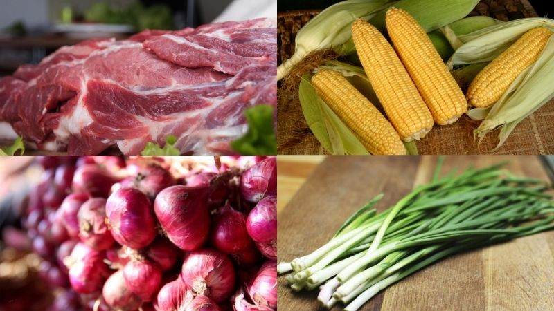 Nguyên liệu làm món thịt lợn xào bắp ngọt