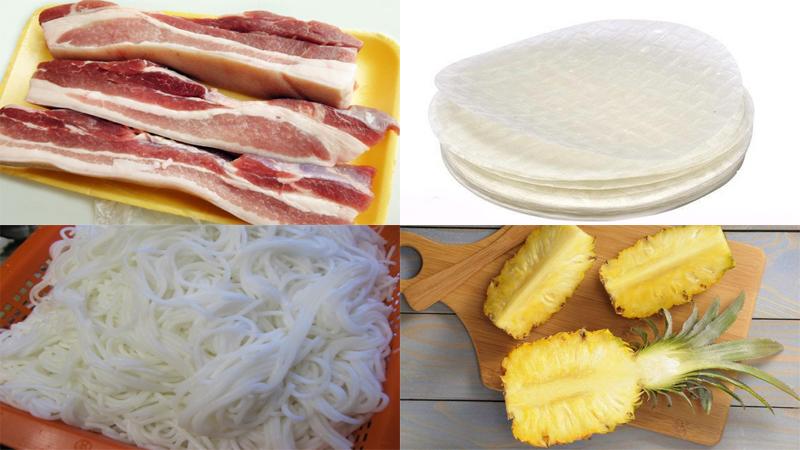 Nguyên liệu làm món thịt cuốn bánh tráng